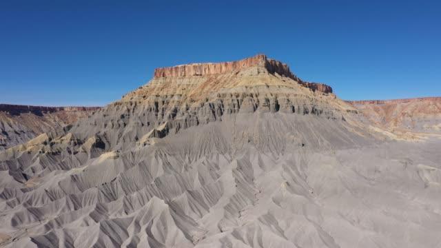 Factory Butte Of Steel Grey Mudstone Rocks Monument In Utah Desert Valley