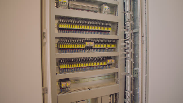 Factory Electric Control Cabinet - Distribution Board Factory Electric Control Cabinet futebol stock videos & royalty-free footage