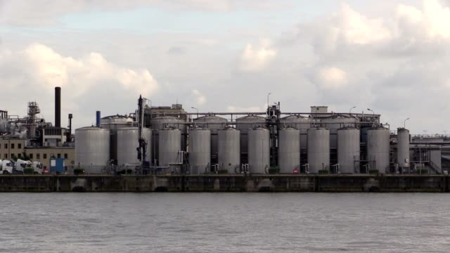 Factory in harbor of Hamburg on the Elbe River