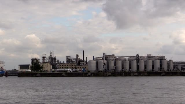 Factory in the harbor of Hamburg on Elbe River