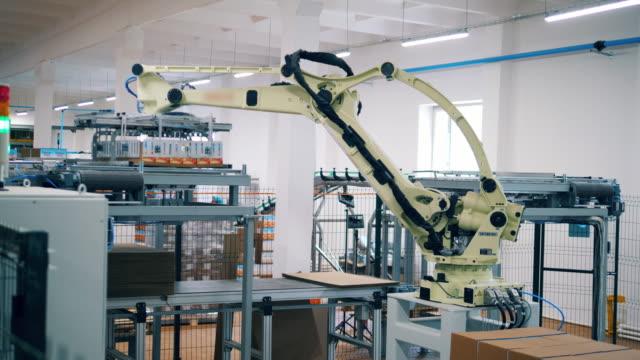 factory machine is displacing blocks of carton boxes. modern robotic factory equipment. - манипулятор робота производственное оборудование стоковые видео и кадры b-roll