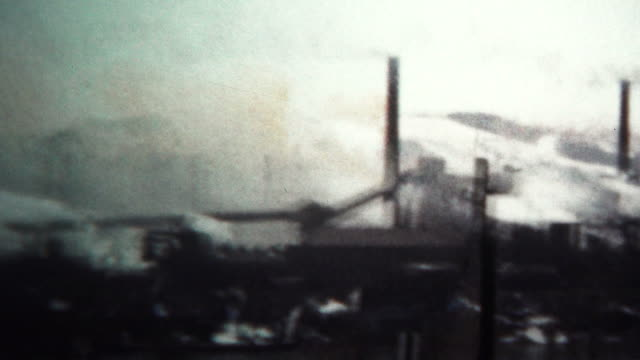 (8mm Vintage) 1956 Factory Smokestack Pollution Industry West Virginia, USA. video