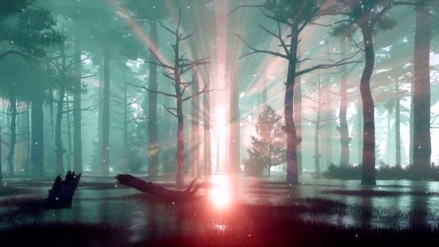 Fairy firefly lights on forest swamp at foggy dusk