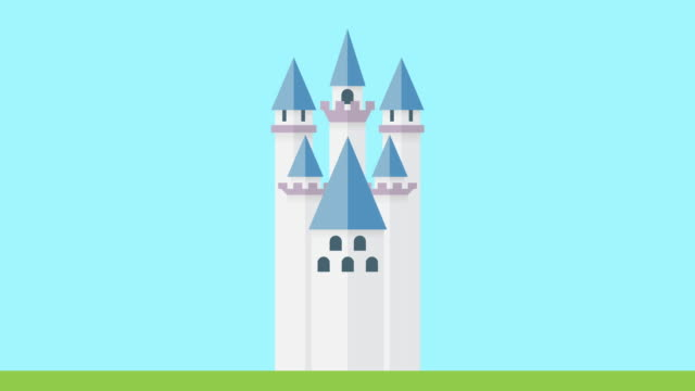 Fairy tale castle construction animation video