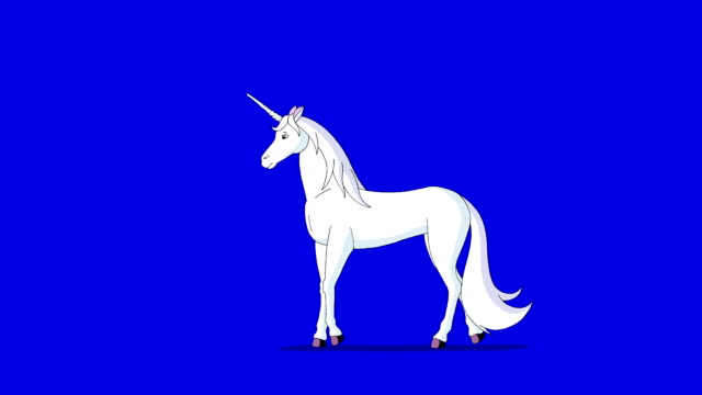 Fairy Tale Unicorn. Classic Disney Style Animation on Chroma Key Blue Screen. video