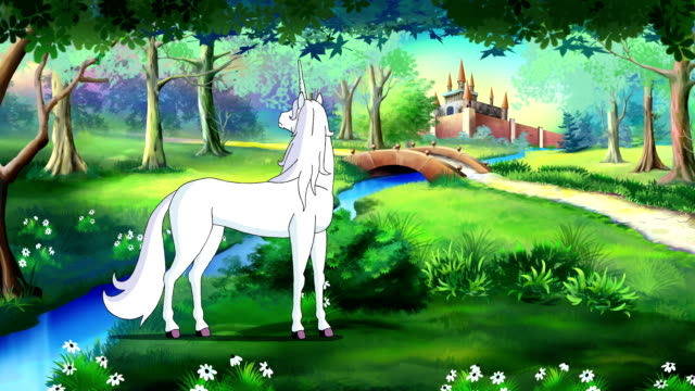 Fairy Tale Unicorn in a Magical Forest UHD video