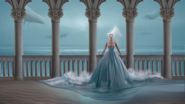 fairy women and flying whales - immaginazione video stock e b–roll