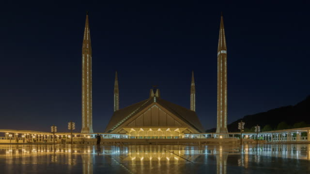 faisal mosque famous travel location in  islamabad pakistan ,time-lapse 4k - post modern architecture stock videos & royalty-free footage