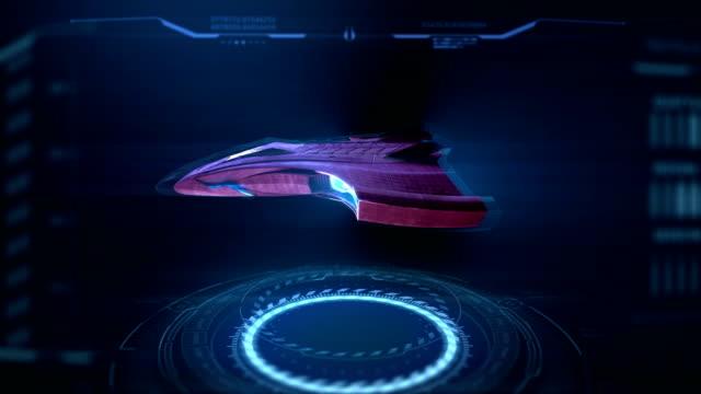 sahte 3d fütüristik video oyunu, uzay gemisi seçimi hud - video oyunu stok videoları ve detay görüntü çekimi