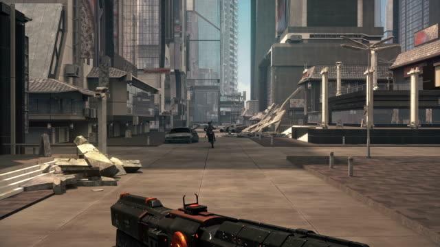 sahte 3d oyun. bilimkurgu şehir atıcı - video oyunu stok videoları ve detay görüntü çekimi