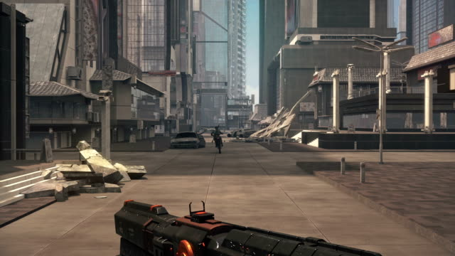 Fake 3D game. Sci-fi city shooter Fake 3D game. Sci-fi city shooter video game stock videos & royalty-free footage
