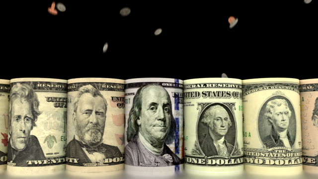 Faling coins with rolled dollars animation video