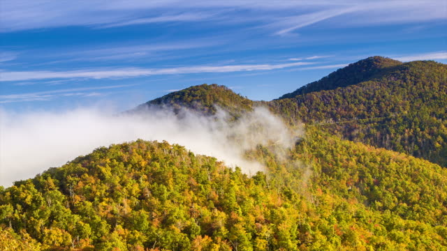 Fall Blue Ridge Mountians with Mist Rushing Over the Hilltop video
