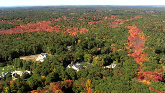 Fall Colors Near Befford  - Aerial View - Massachusetts,  Middlesex County,  United States video