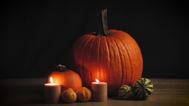 Fall Pumpkins by Candlelight
