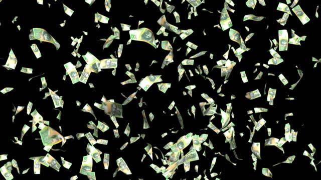 アルファ4kループ可能で100オーストラリアドル紙幣の下落 - 紙幣点の映像素材/bロール