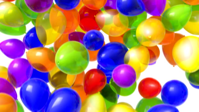 Falling Balloons 1080 HD video of multi-colored balloons falling from above over a white background. Includes alpha matte! (16:9) celebration background stock videos & royalty-free footage