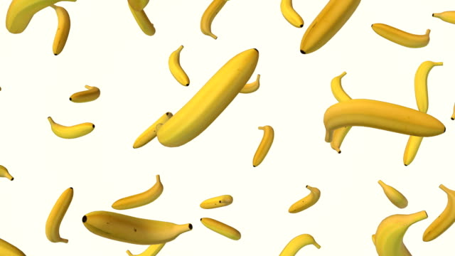 Falling banana on white background video