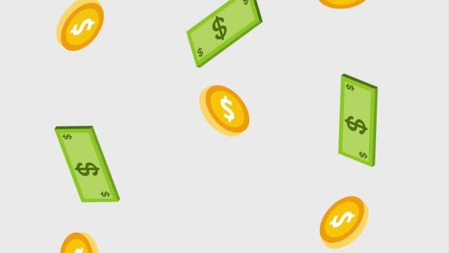 떨어지는 지폐와 동전 통화 달러 - 통화 스톡 비디오 및 b-롤 화면