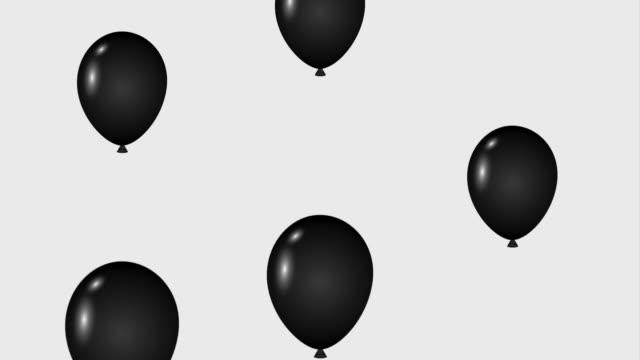 vídeos de stock e filmes b-roll de falling black balloons decoration black friday animation hd - black friday