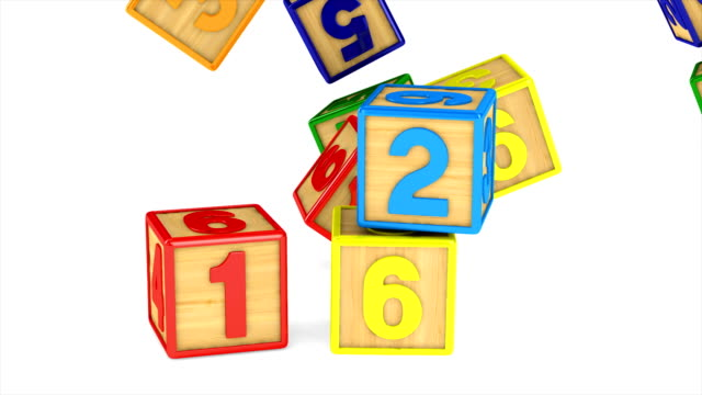 falling block with number on white background. isolated 3d render - a forma di blocco video stock e b–roll