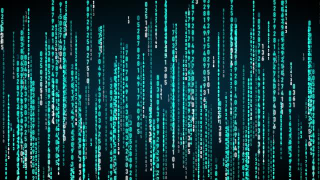 落下ブルーコードアニメーション - バイナリーコード点の映像素材/bロール