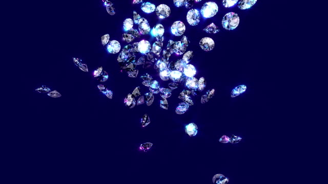 Falling, bouncing diamonds. Sparkling diamonds fall through the air coming to rest in a heap. indulgence stock videos & royalty-free footage