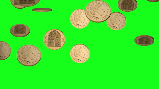 Falling British Pound Coins on Chroma Green BG A 4K animation of detailed 3D British pound coins raining down on a green screen background.  treasury stock videos & royalty-free footage