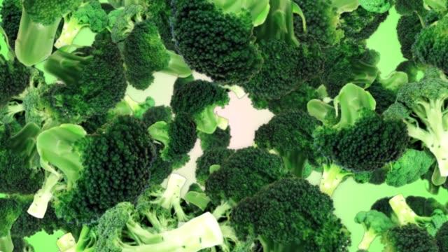 vídeos de stock e filmes b-roll de falling broccoli background, with alpha channel, loop - brócolo