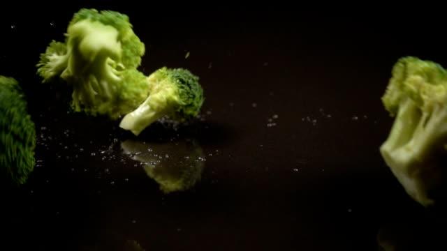 vídeos de stock e filmes b-roll de falling broccoli cabbage on black background - brócolo