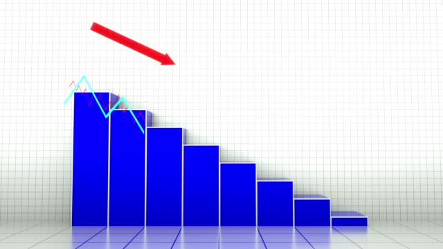 falling chart - andare giù video stock e b–roll