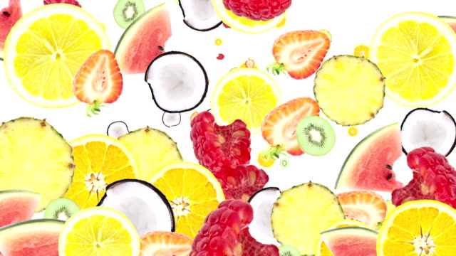 stockvideo's en b-roll-footage met falling chopped fruits as background video (with alpha) - tropisch fruit