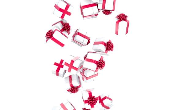 落下クリスマスのギフトボックス - プレセントの箱点の映像素材/bロール