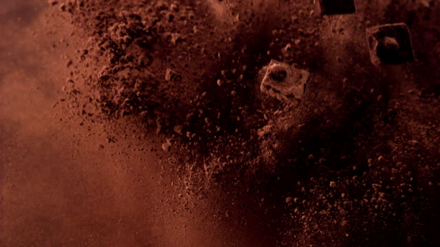 falling cocoa powder - cioccolato video stock e b–roll