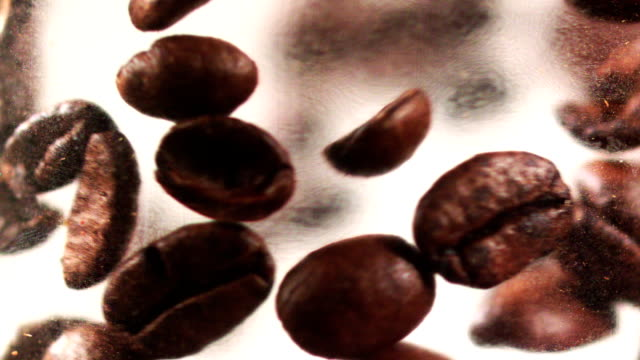 Falling coffee beans video