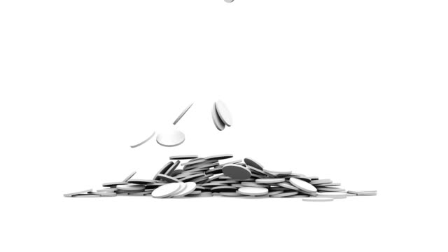 fallenden münzen. 3d render 4k ultra hd - amerikanische geldmünze stock-videos und b-roll-filmmaterial