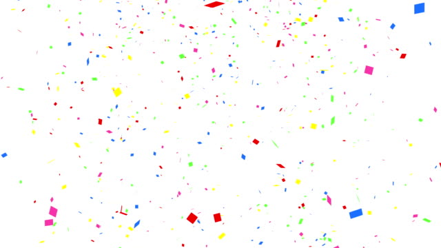 Falling colorful confetti with alpha channel 4K