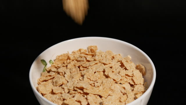 Falling corn flakes to the rotating white plate on a black video