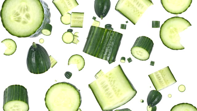 Falling cucumbers Cucumbers falling down on white background pickle stock videos & royalty-free footage