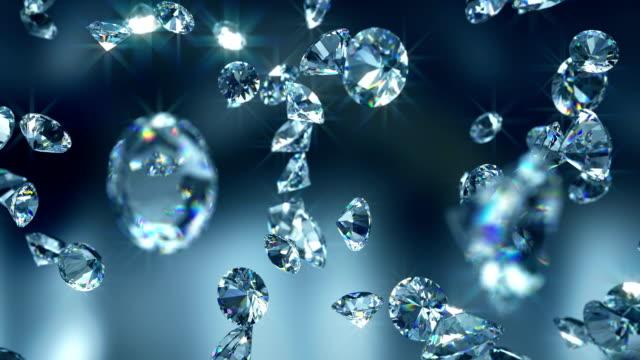 Falling diamonds 4K - Close-up 3D animatio diamond stock videos & royalty-free footage