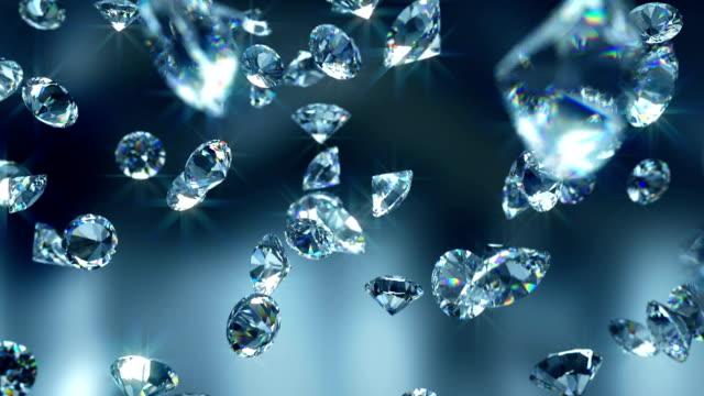 Falling diamonds - Close-up 3D animatio diamond stock videos & royalty-free footage