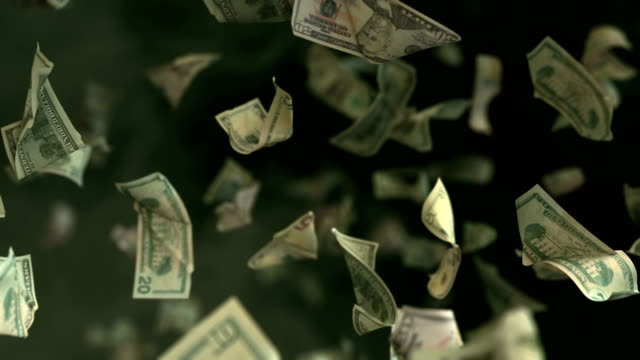 Falling Dollar banknotes in 4K Loopable