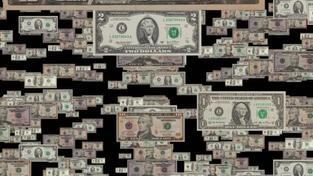 vídeos y material grabado en eventos de stock de caída del dólar moneda alpha channel - prosperidad