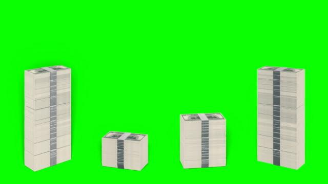 Falling Dollar Stacks Green-Box heap stock videos & royalty-free footage