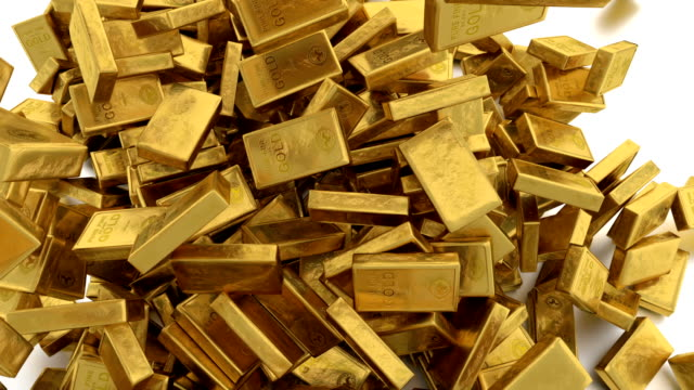 Falling down small gold bars. Animation of falling down gold bars. gold bars stock videos & royalty-free footage