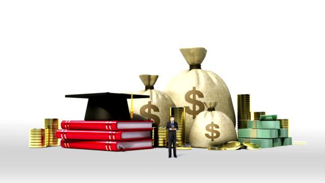 Falling Education expenses loan sign, graduation cap on books.money video