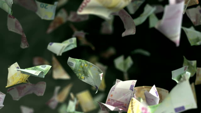 falling euro banknotes in 4k loopable - valuta dell'unione europea video stock e b–roll