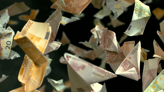 Caen billetes falsos de euros en 4 K Loopable - vídeo