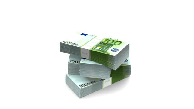 Falling Euro (HD + Alpha) b]100 Euro bills packs landing on stack.  european union currency stock videos & royalty-free footage