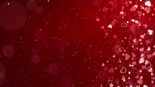 Falling From Above Romantic Red Love Heart Particles Loop Background.